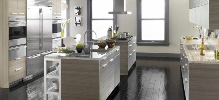 cocinas blancas y grises los 50 dise os m s actuales On muebles de cocina color gris