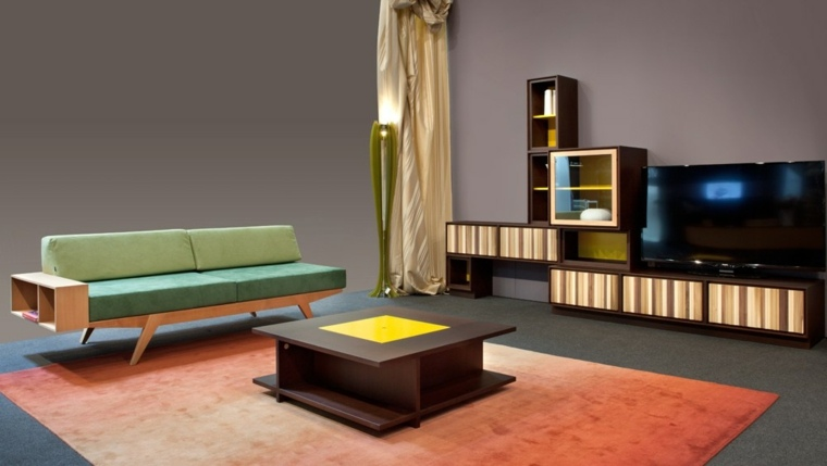 muebles diseño salon mesa madera alfombra naranja ideas