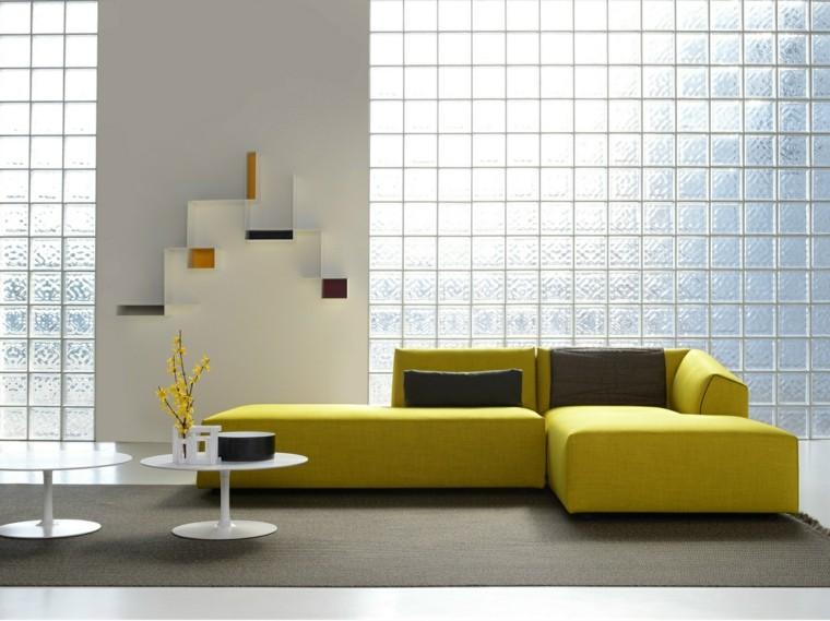 muebles diseño salon mesas blancas sofa amarilla ideas
