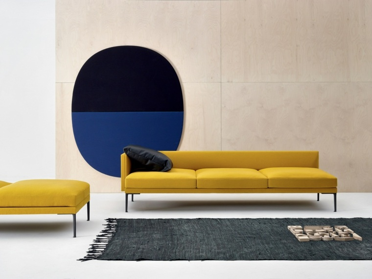 muebles diseño salon sofa amarilla alfombra negra ideas