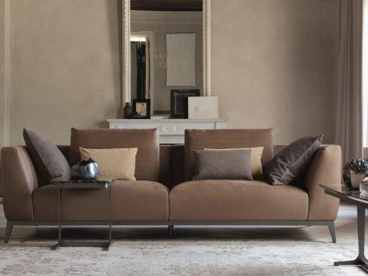 muebles diseño salon sofa gris chimenea ideas