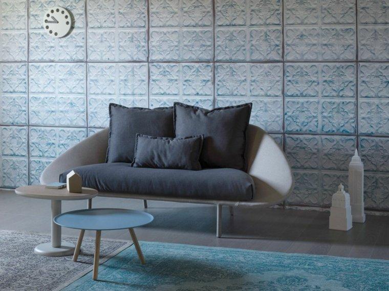muebles diseño salon sofa mesas alfombra azul ideas