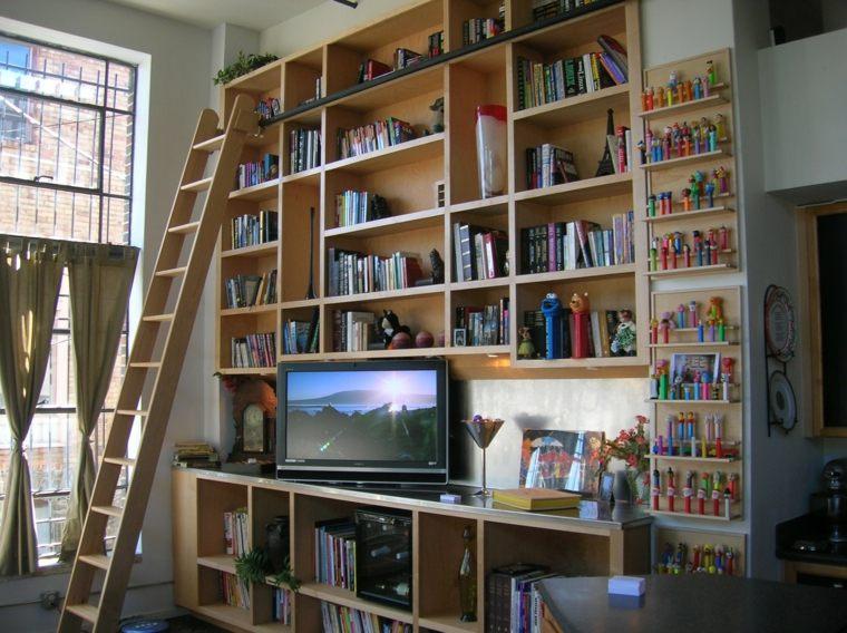 muebles estantes escaleras madera deco