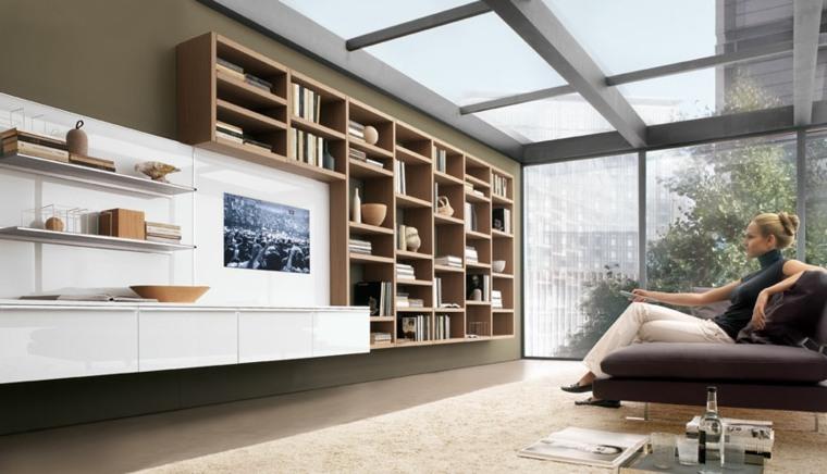 Bibliotecas grandes para salas de estar modernas for Estantes modernos