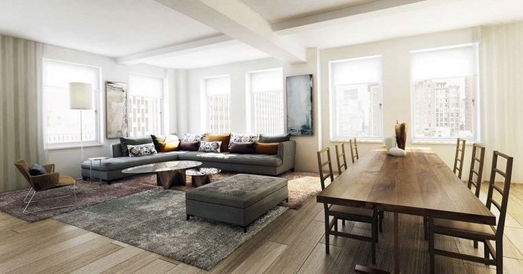 muebles grices loft amplio comedor ideas
