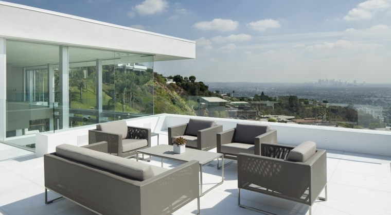 muebles grices terraza blanca ideas