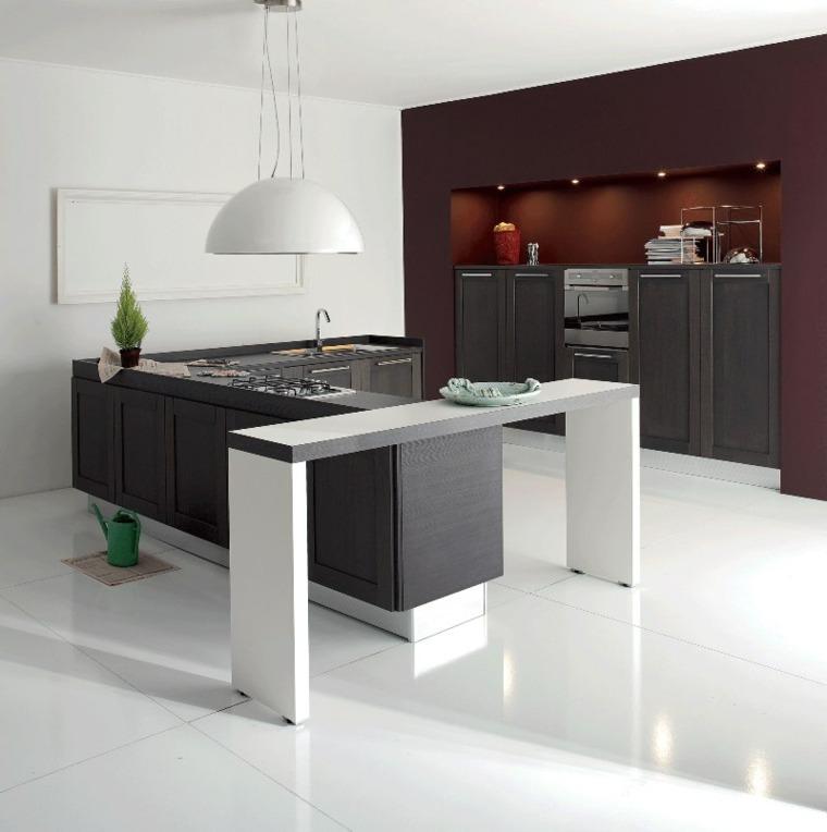 muebles cocina grises isla blanca