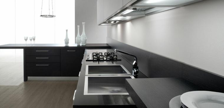 muebles cocina grises laminados madera