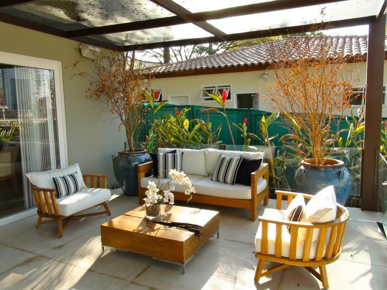 muebles madera macetas grandes terraza ideas