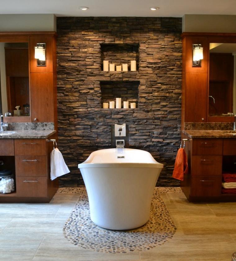 muebles baño madera pared piedra