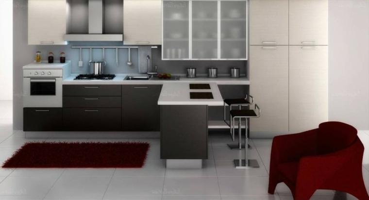 muebles de cocina modernos en gris y blanco