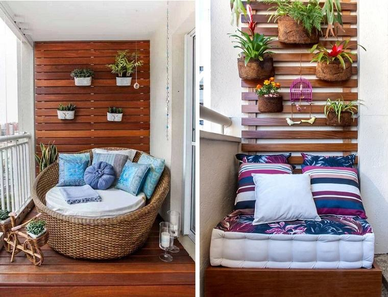 Decoracion de balcones y terrazas peque as 99 ideas for Muebles hindu