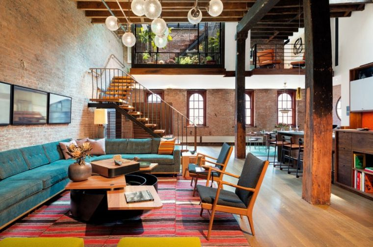 muebles para loft Andrew Franz Architect salon colorido ideas