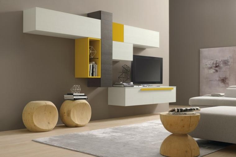 muebles para salon modernos amarillos taburetes ideas