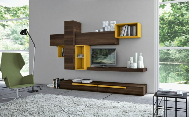 muebles para salon modernos combinacion amarillo marron ideas