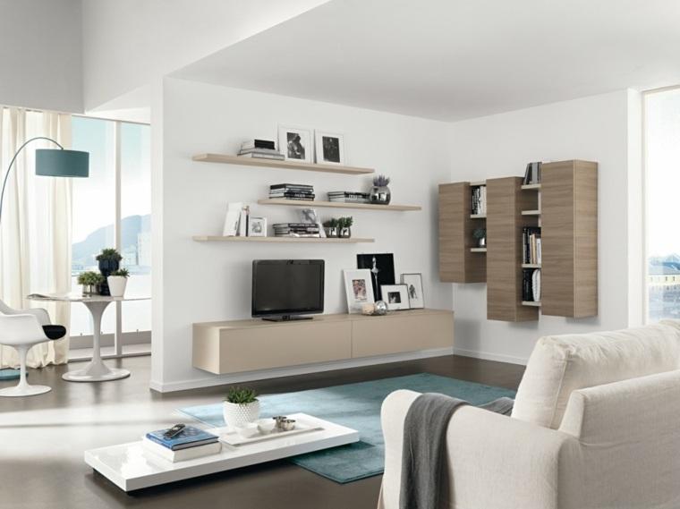 muebles salon modernos estantes abiertos madera ideas