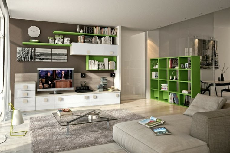 muebles salon modernos gabinetes verdes ideas
