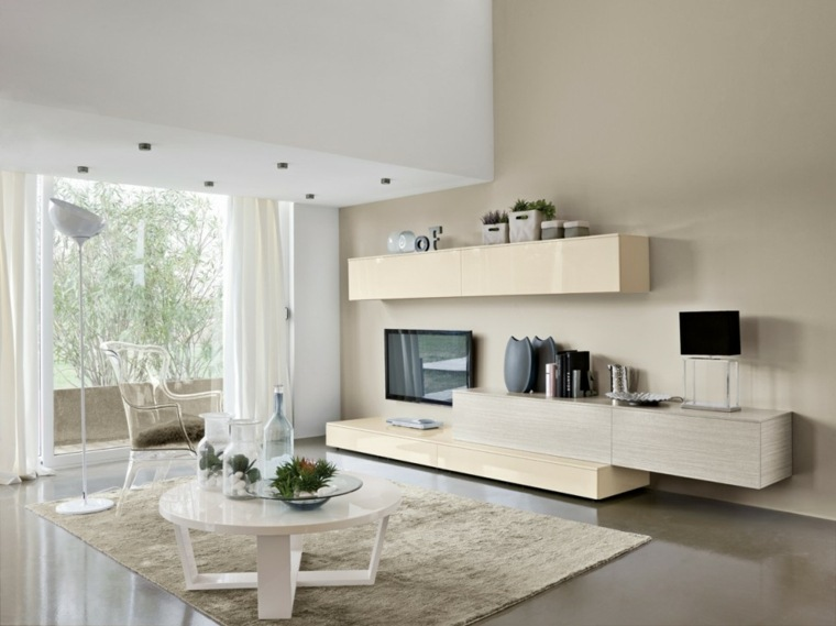 muebles salon modernos mesa silla blanca ideas
