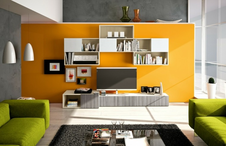muebles salon modernos pared color naranja ideas