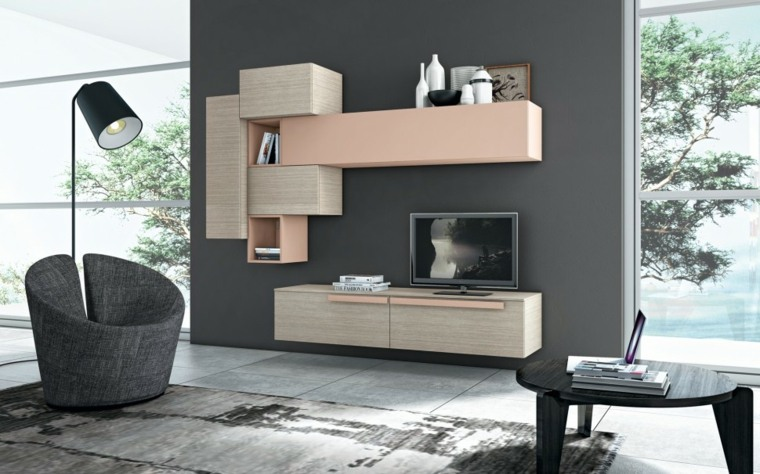 muebles salon modernos pared negra bonita ideas