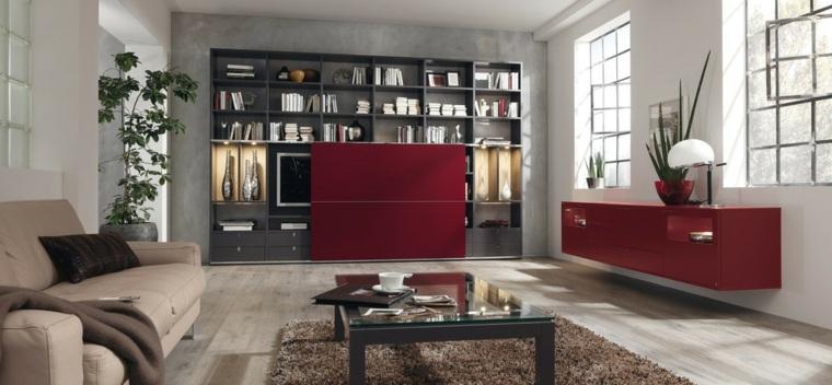 muebles rojos esconden televisor salon ideas