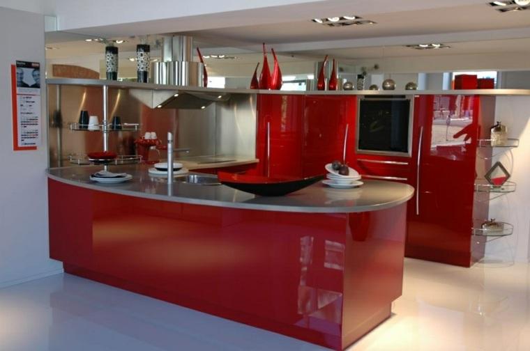 muebles cocina rojos lacados snaidero