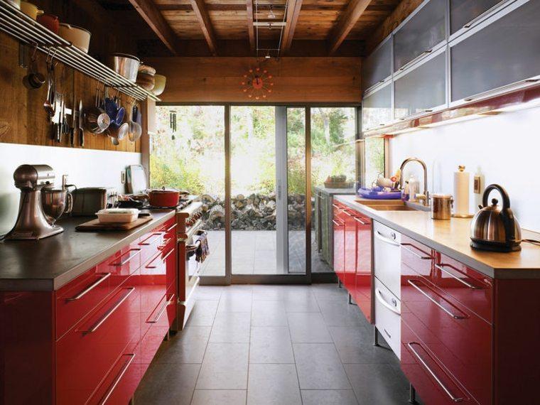 muebles cocina rojos lacados modernos