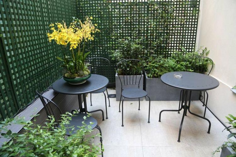 muebles terraza cenador verde valla