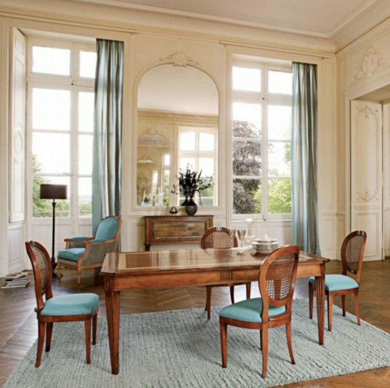 muebles comedor madera acolchado azul