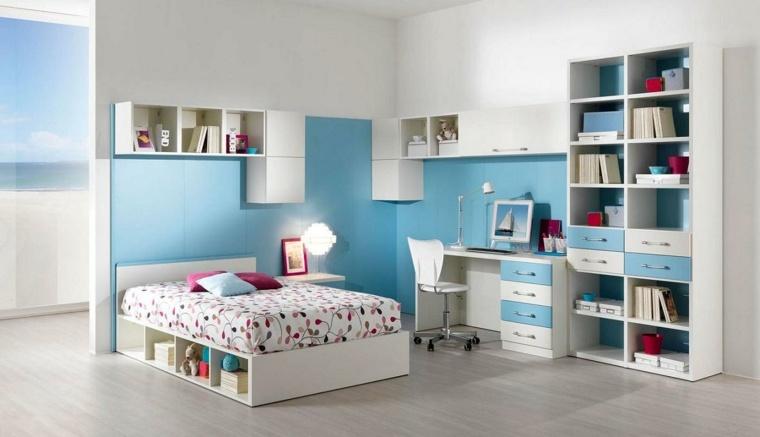 muebles blancos paredes color celeste