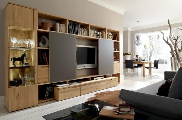 muebvles salon pared madera ideas