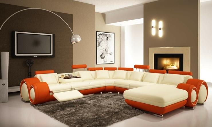 naranja contemporaneo sillones estilos marrones