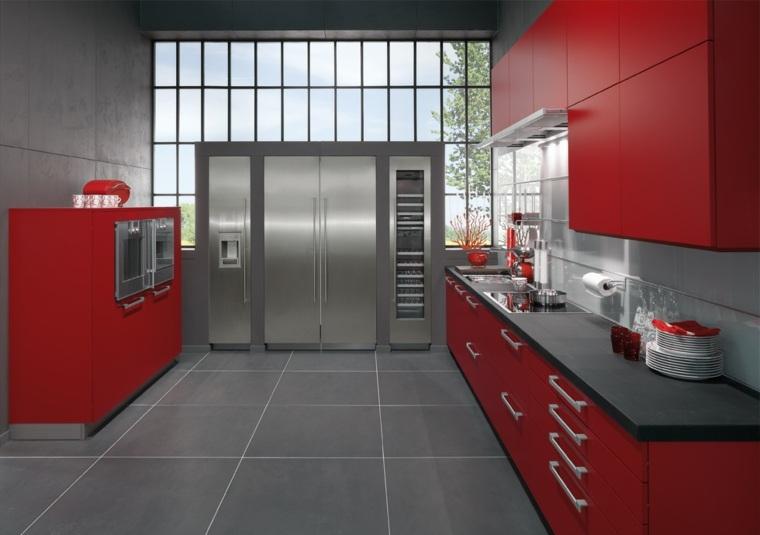 diseño cocina moderna roja