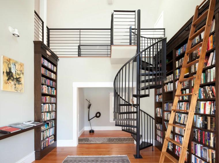 Bibliotecas grandes para salas de estar modernas - Escaleras para bibliotecas ...