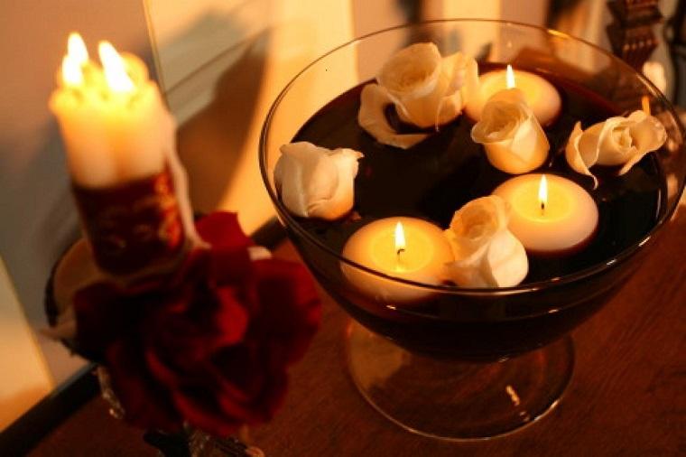 original centro rosas blancas velas