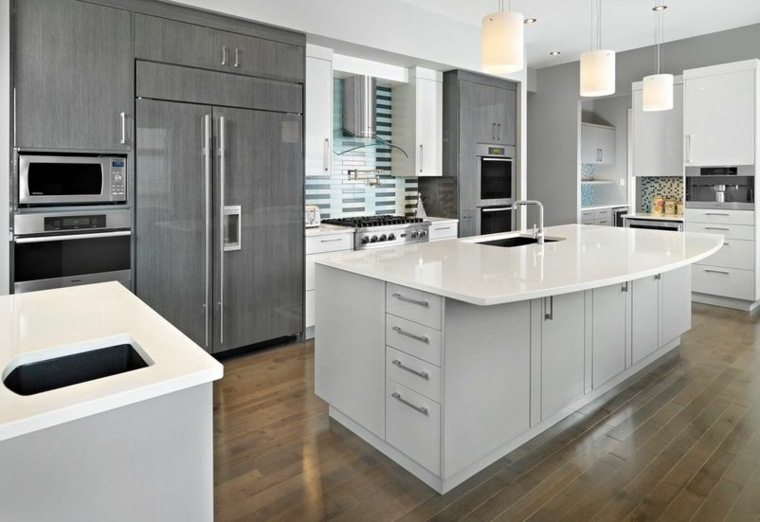 Cocinas blancas y grises los 50 dise os m s actuales - Cocinas pintadas ...