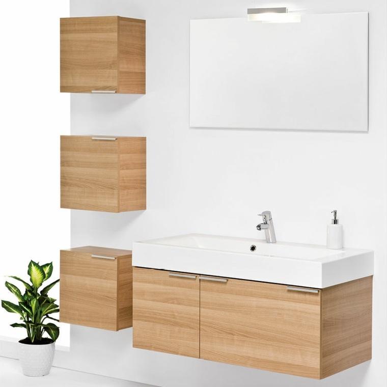 original conjunto muebles baño madera