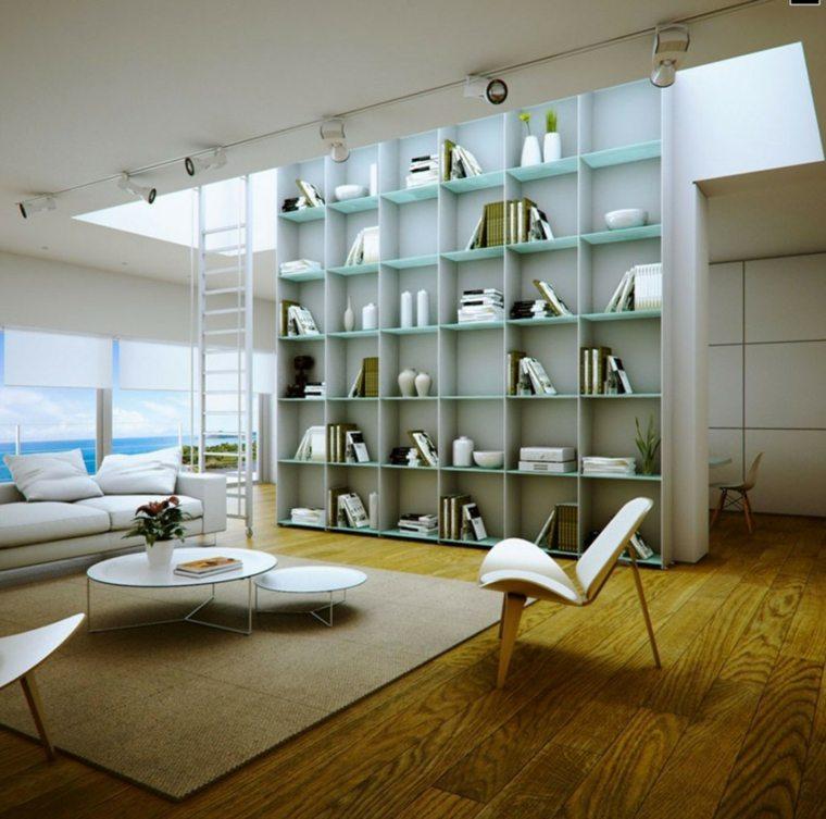 original diseño bibliotecas estantes vidrio salon