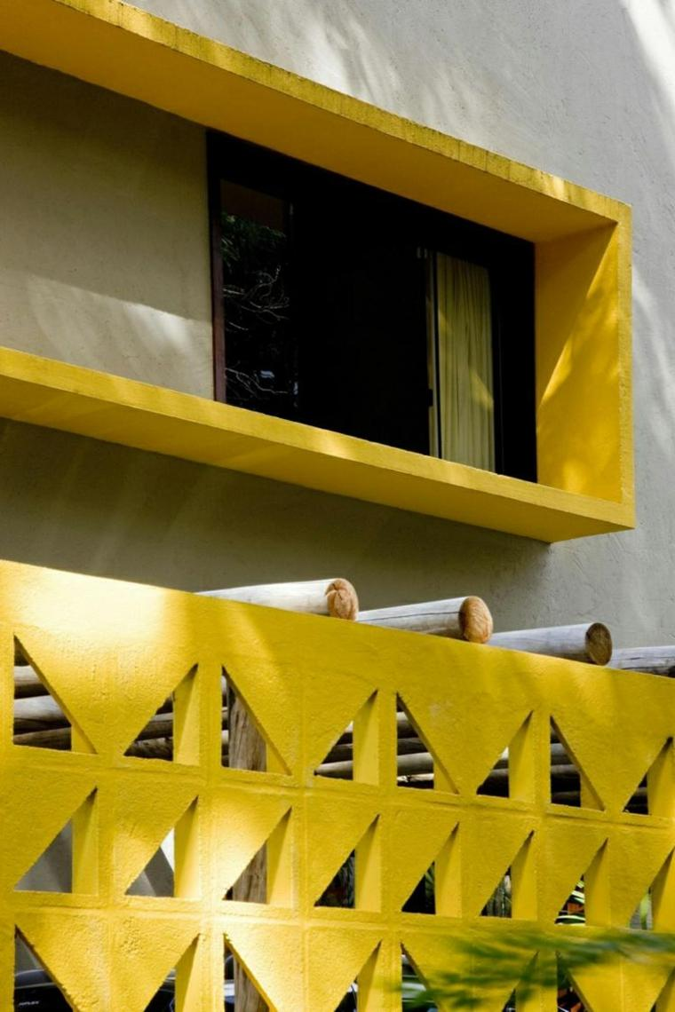 original diseño fachada casa amarilla