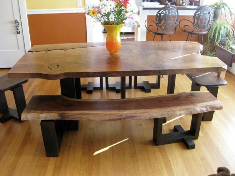 original diseño mesa bancos madera