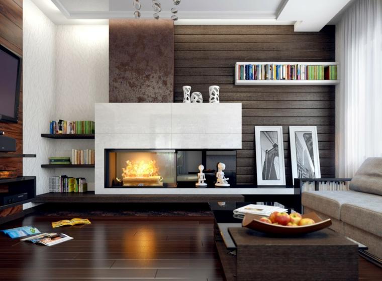 Salones con chimenea moderna 50 interiores c lidos - Modelos de chimeneas modernas ...
