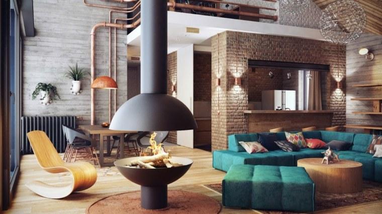 diseos modernos de salones con chimenea