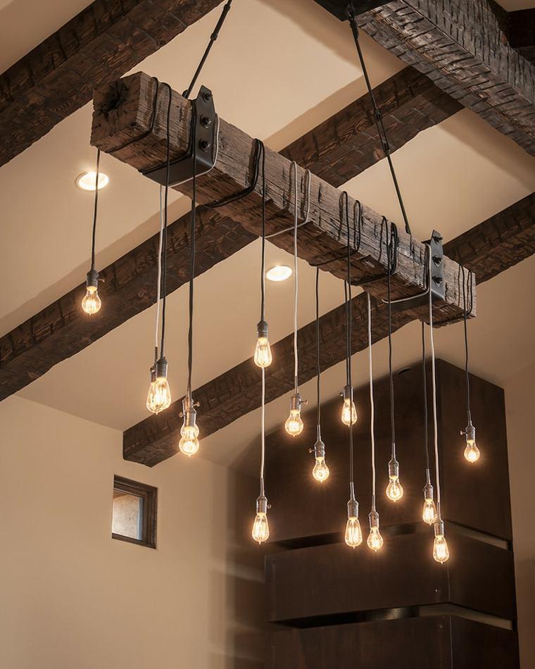 original lámpara madera bombillas colgantes