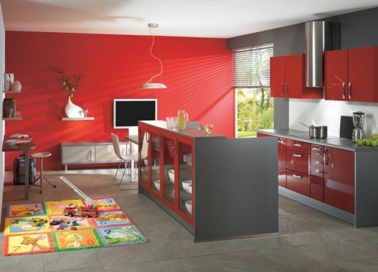 original diseño cocina gris rojo