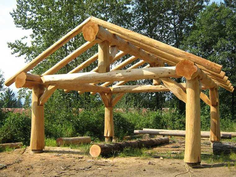 original gazebo troncos madera