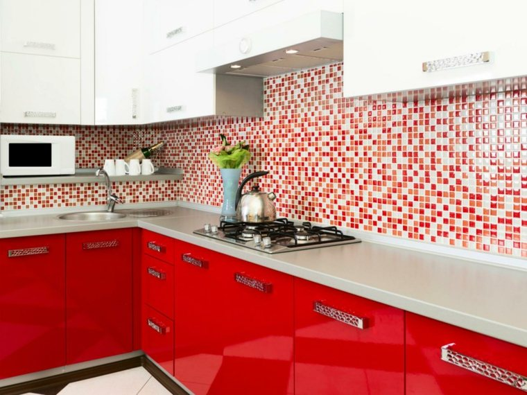 original diseño cocina moderna roja