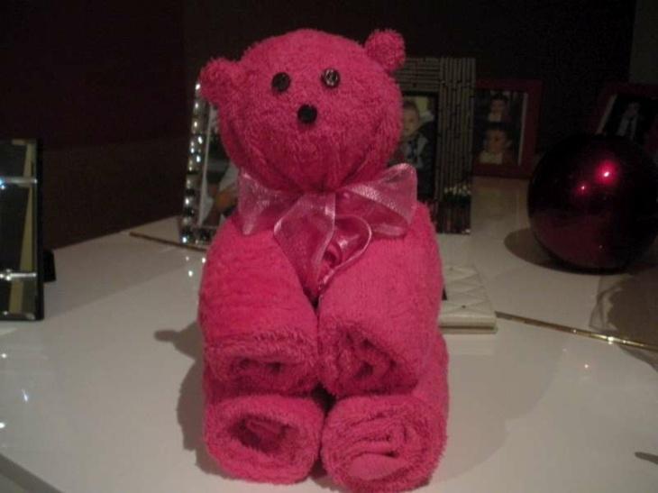 original diseño osito toalla rosa