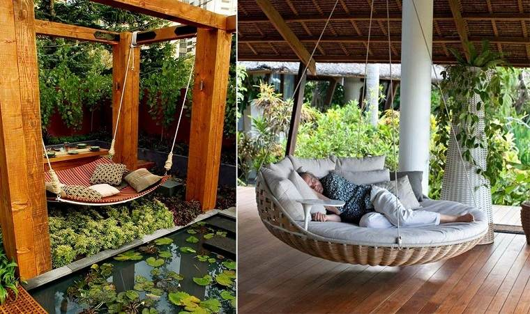 Decoracion de balcones y terrazas peque as 99 ideas for Cama exterior para jardin