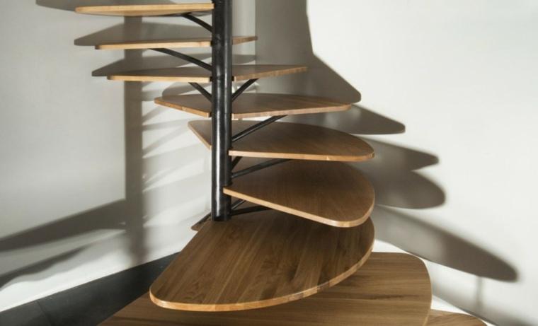 originales peldaos escaleras caracol madera