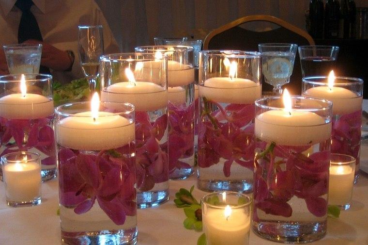 originles centros mesa velas flotantes